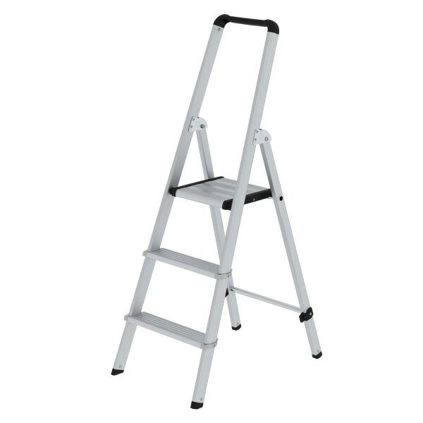 ML Stufen-Stehleiter einseitig begehbar Aluminium eloxiert