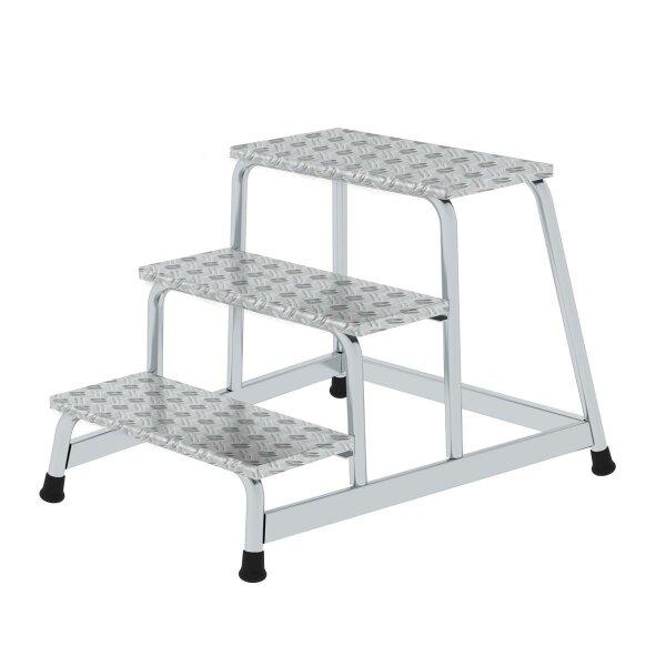 Arbeitspodest starr, Stufen aus Aluminium-Warzenblech