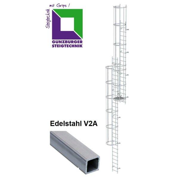 Mehrzügige Steigleiter mit Rückenschutz (Notleiter) Edelstahl verschiedene Steighöhen