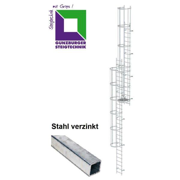 Mehrzügige Steigleiter mit Rückenschutz (Notleiter) Stahl verzinkt verschiedene Steighöhen