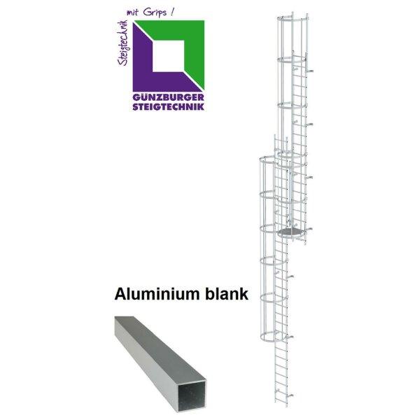 Mehrzügige Steigleiter mit Rückenschutz (Notleiter) Aluminium blank verschiedene Steighöhen