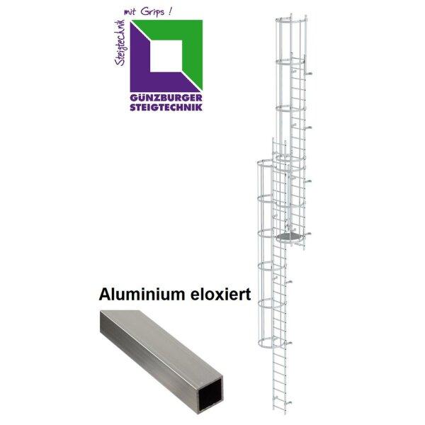 Mehrzügige Steigleiter mit Rückenschutz (Notleiter) Aluminium eloxiert verschiedene Steighöhen