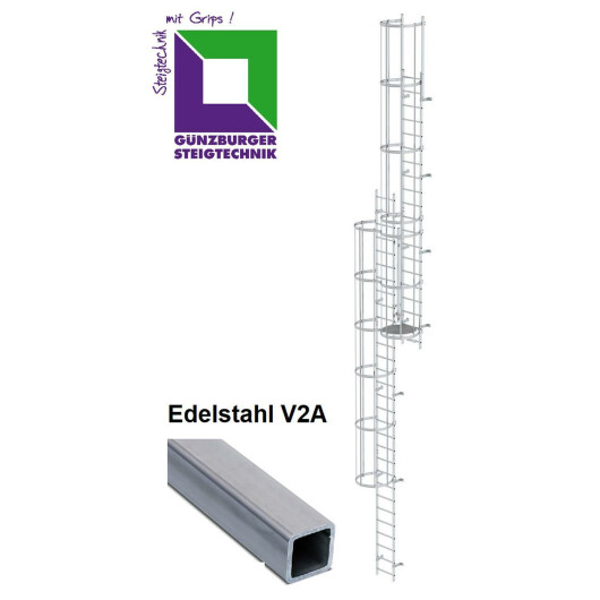 Mehrzügige Steigleiter mit Rückenschutz (Bau) Edelstahl verschiedene Steighöhen