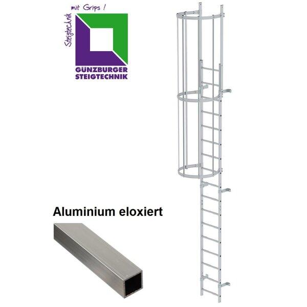 Einzügige Steigleiter mit Rückenschutz (Maschinen) Aluminium eloxiert verschiedene Steighöhen