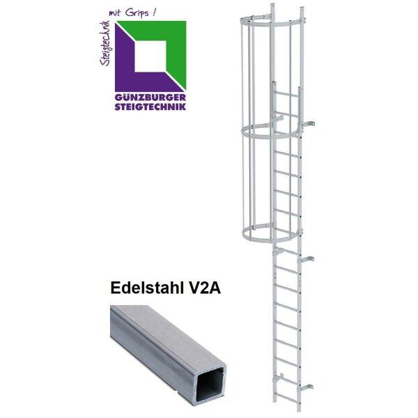 Einzügige Steigleiter mit Rückenschutz (bauliche Anlagen) Edelstahl verschiedene Steighöhen