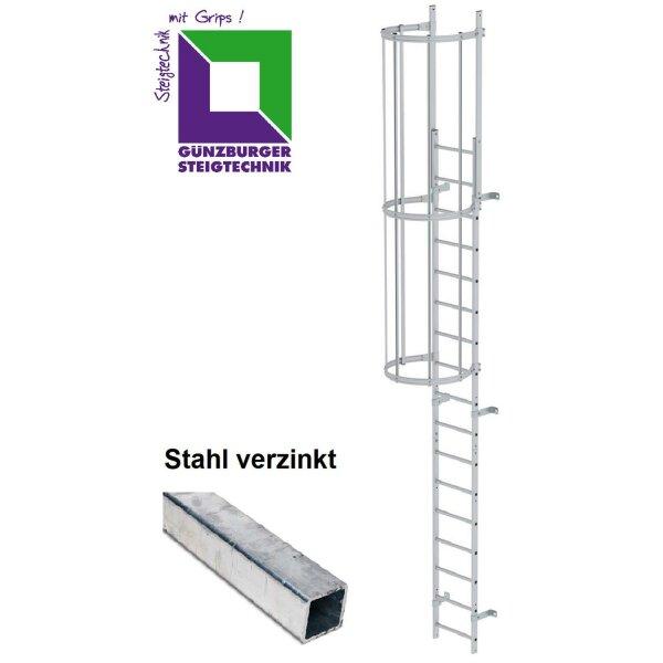 Einzügige Steigleiter mit Rückenschutz (bauliche Anlagen) Stahl verzinkt verschiedene Steighöhen
