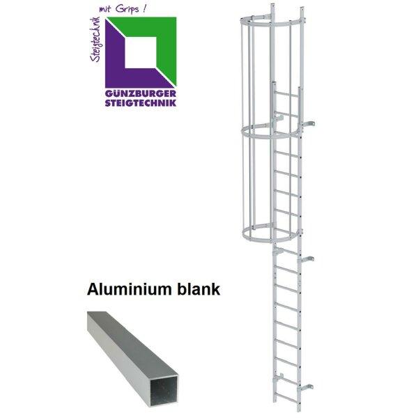Einzügige Steigleiter mit Rückenschutz (bauliche Anlagen)  Aluminium blank verschiedene Steighöhen