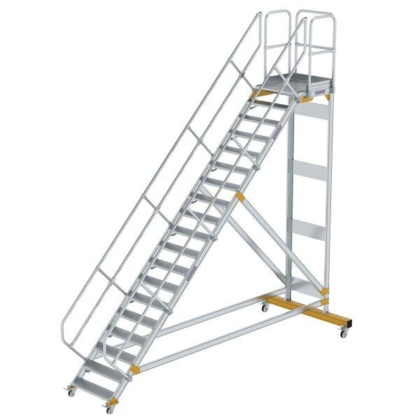 Plattformtreppe 45° fahrbar Stufenbreite 800 mm 19 Stufen Aluminium geriffelt