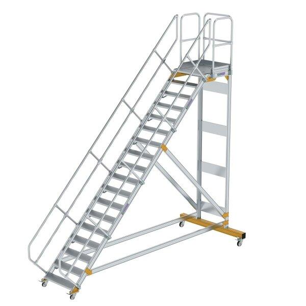 Plattformtreppe 45° fahrbar Stufenbreite 800 mm 18 Stufen Aluminium geriffelt