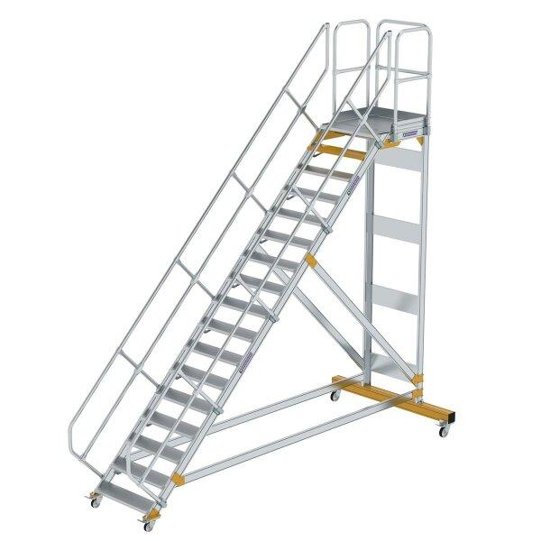 Plattformtreppe 45° fahrbar Stufenbreite 800 mm 17 Stufen Aluminium geriffelt