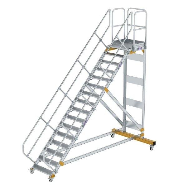 Plattformtreppe 45° fahrbar Stufenbreite 800 mm 16 Stufen Aluminium geriffelt