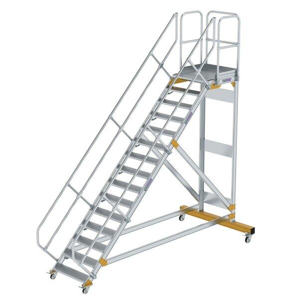 Plattformtreppe 45° fahrbar Stufenbreite 800 mm 15 Stufen Aluminium geriffelt