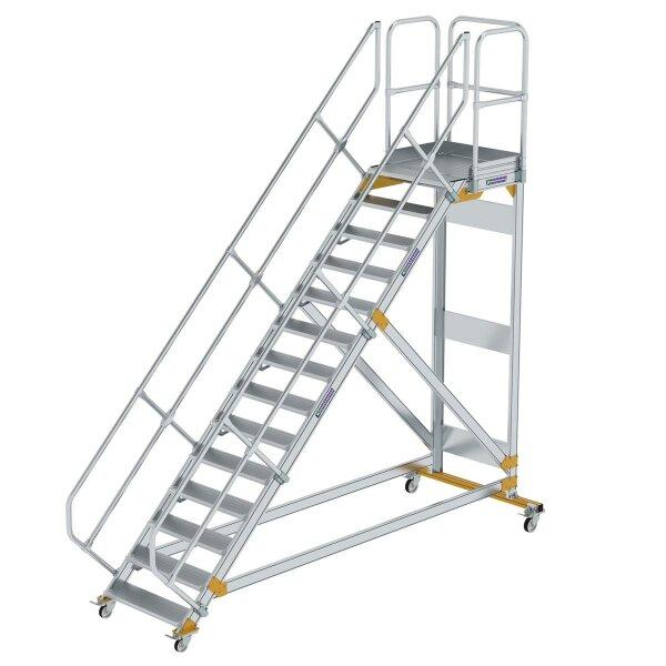 Plattformtreppe 45° fahrbar Stufenbreite 800 mm 14 Stufen Aluminium geriffelt