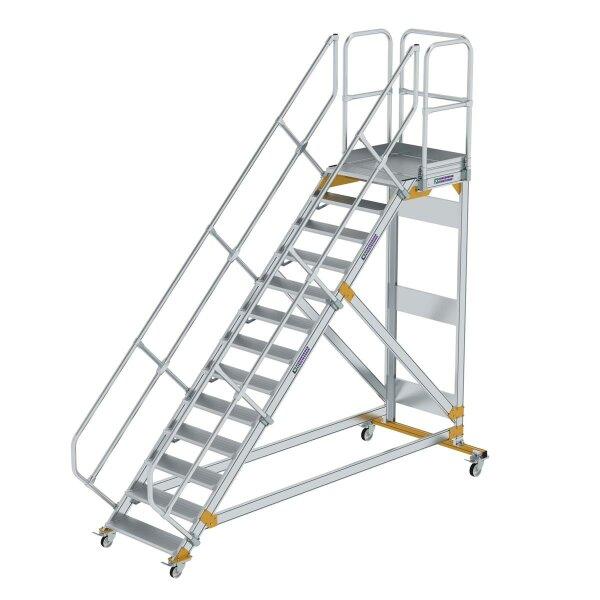 Plattformtreppe 45° fahrbar Stufenbreite 800 mm 13 Stufen Aluminium geriffelt