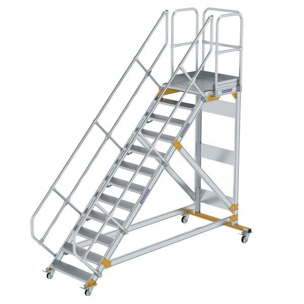 Plattformtreppe 45° fahrbar Stufenbreite 800 mm 12 Stufen Aluminium geriffelt
