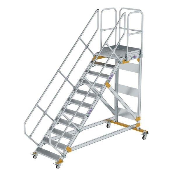 Plattformtreppe 45° fahrbar Stufenbreite 800 mm 11 Stufen Aluminium geriffelt