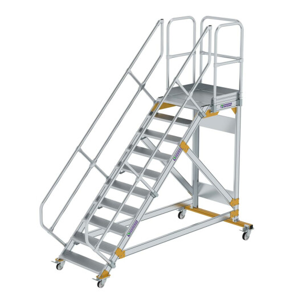 Plattformtreppe 45° fahrbar Stufenbreite 800 mm 10 Stufen Aluminium geriffelt