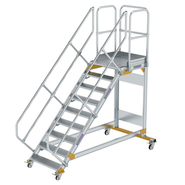 Plattformtreppe 45° fahrbar Stufenbreite 800 mm 9 Stufen Aluminium geriffelt