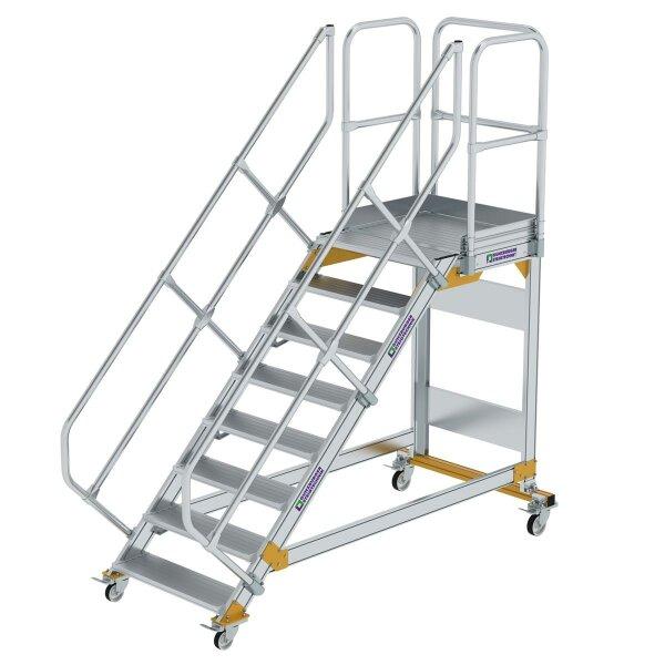 Plattformtreppe 45° fahrbar Stufenbreite 800 mm 8 Stufen Aluminium geriffelt