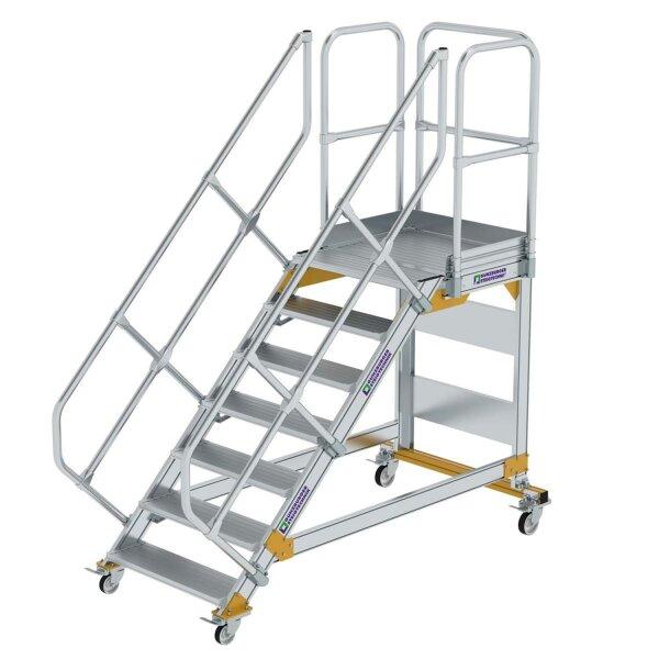 Plattformtreppe 45° fahrbar Stufenbreite 800 mm 7 Stufen Aluminium geriffelt