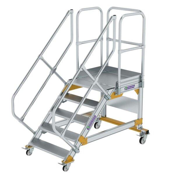 Plattformtreppe 45° fahrbar Stufenbreite 800 mm 5 Stufen Aluminium geriffelt