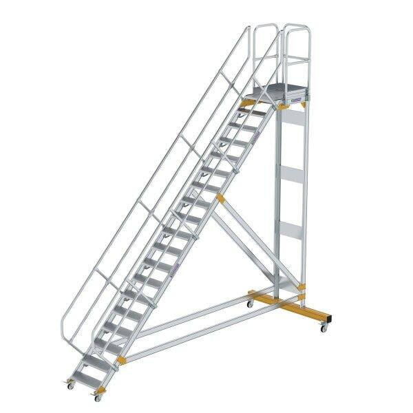 Plattformtreppe 45° fahrbar Stufenbreite 600 mm 19 Stufen Aluminium geriffelt