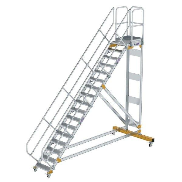 Plattformtreppe 45° fahrbar Stufenbreite 600 mm 17 Stufen Aluminium geriffelt