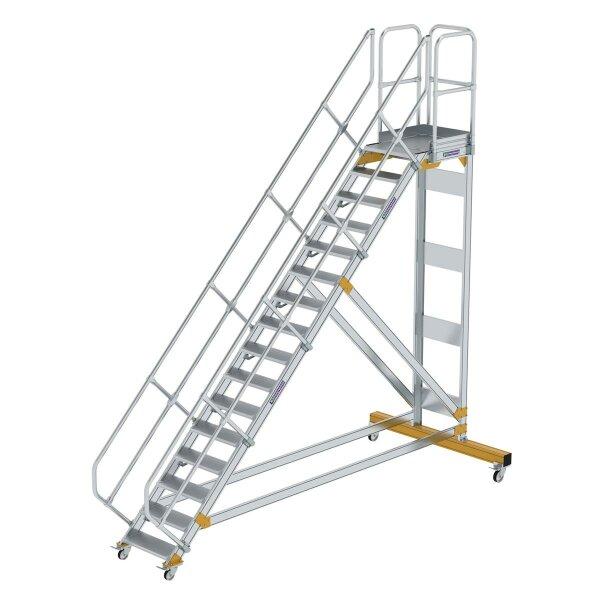 Plattformtreppe 45° fahrbar Stufenbreite 600 mm 16 Stufen Aluminium geriffelt