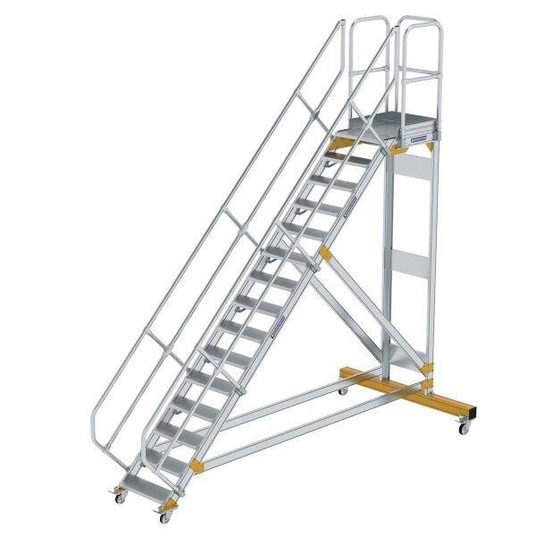 Plattformtreppe 45° fahrbar Stufenbreite 600 mm 15 Stufen Aluminium geriffelt
