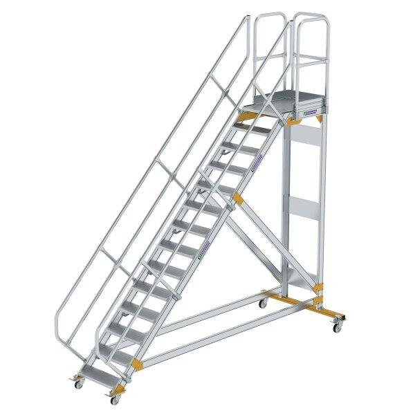 Plattformtreppe 45° fahrbar Stufenbreite 600 mm 14 Stufen Aluminium geriffelt