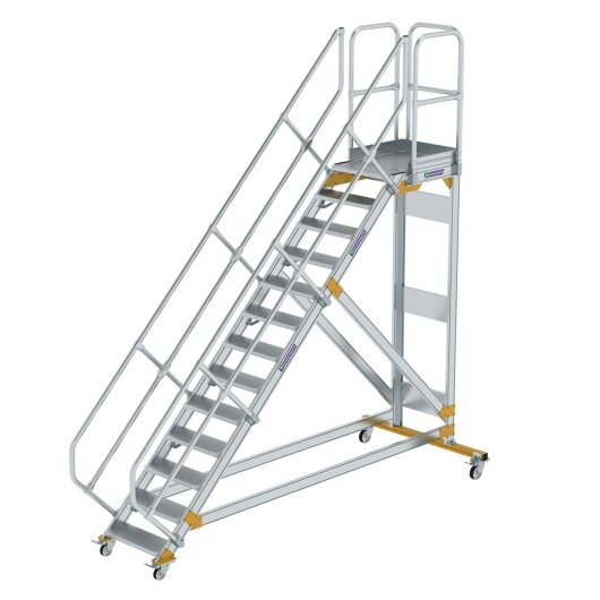 Plattformtreppe 45° fahrbar Stufenbreite 600 mm 13 Stufen Aluminium geriffelt