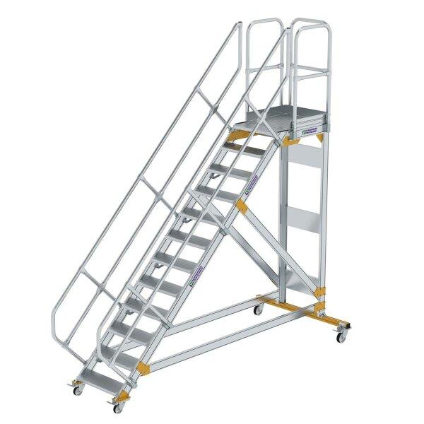 Plattformtreppe 45° fahrbar Stufenbreite 600 mm 12 Stufen Aluminium geriffelt