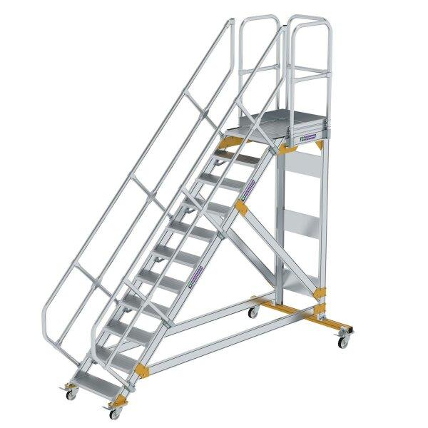 Plattformtreppe 45° fahrbar Stufenbreite 600 mm 11 Stufen Aluminium geriffelt