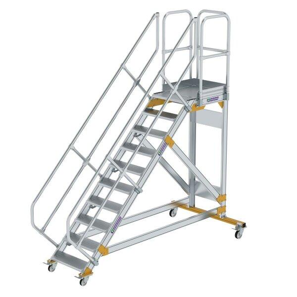Plattformtreppe 45° fahrbar Stufenbreite 600 mm 10 Stufen Aluminium geriffelt