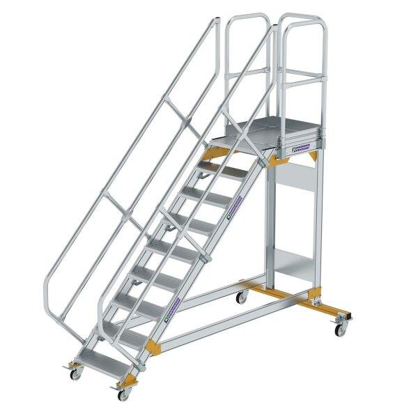 Plattformtreppe 45° fahrbar Stufenbreite 600 mm 9 Stufen Aluminium geriffelt
