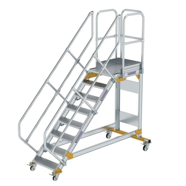 Plattformtreppe 45° fahrbar Stufenbreite 600 mm 8 Stufen Aluminium geriffelt