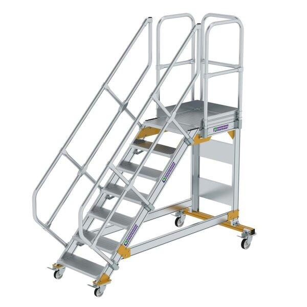 Plattformtreppe 45° fahrbar Stufenbreite 600 mm 7 Stufen Aluminium geriffelt
