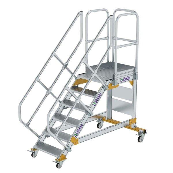 Plattformtreppe 45° fahrbar Stufenbreite 600 mm 6 Stufen Aluminium geriffelt