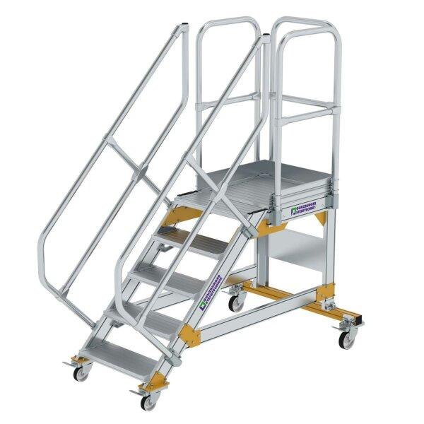Plattformtreppe 45° fahrbar Stufenbreite 600 mm 5 Stufen Aluminium geriffelt
