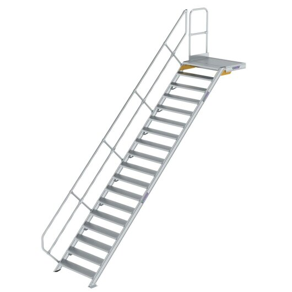 Treppe mit Plattform 45° Stufenbreite 1000 mm 18 Stufen Aluminium geriffelt