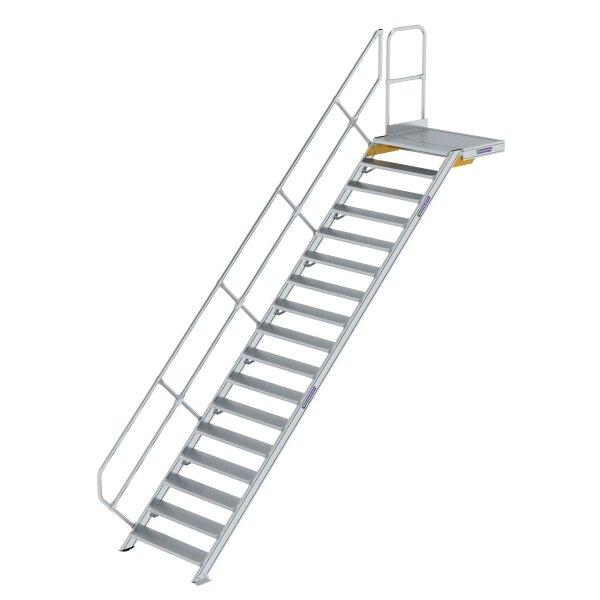 Treppe mit Plattform 45° Stufenbreite 1000 mm 17 Stufen Aluminium geriffelt