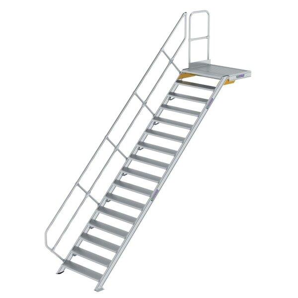 Treppe mit Plattform 45° Stufenbreite 1000 mm 16 Stufen Aluminium geriffelt