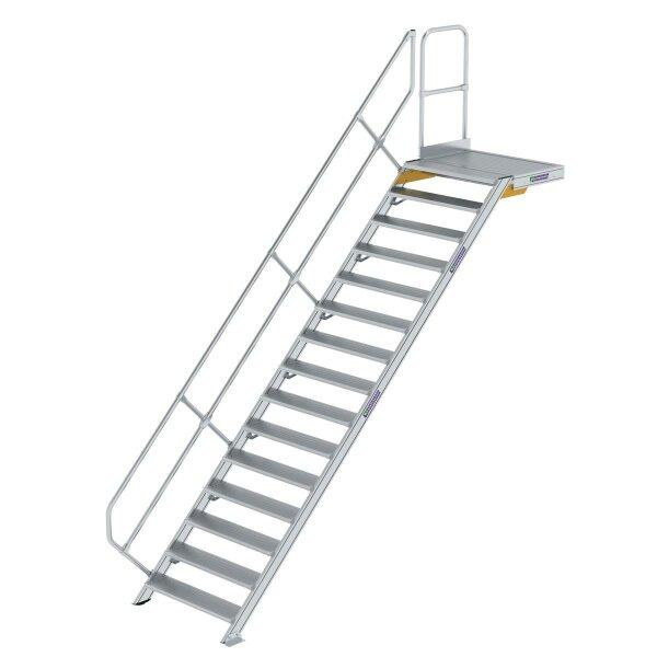 Treppe mit Plattform 45° Stufenbreite 1000 mm 15 Stufen Aluminium geriffelt