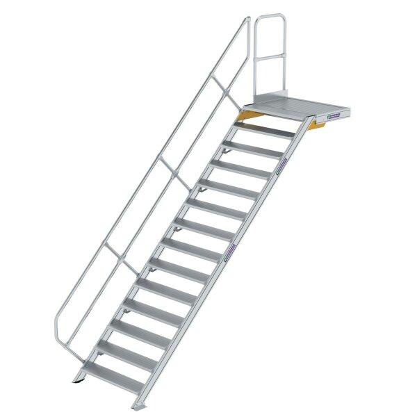 Treppe mit Plattform 45° Stufenbreite 1000 mm 14 Stufen Aluminium geriffelt