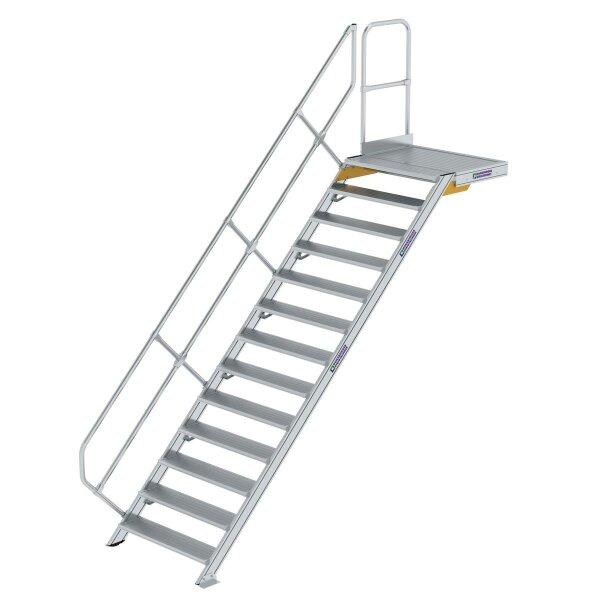 Treppe mit Plattform 45° Stufenbreite 1000 mm 13 Stufen Aluminium geriffelt