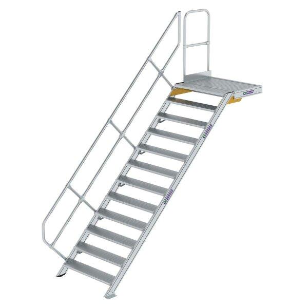 Treppe mit Plattform 45° Stufenbreite 1000 mm 12 Stufen Aluminium geriffelt