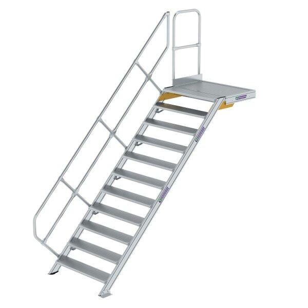Treppe mit Plattform 45° Stufenbreite 1000 mm 11 Stufen Aluminium geriffelt