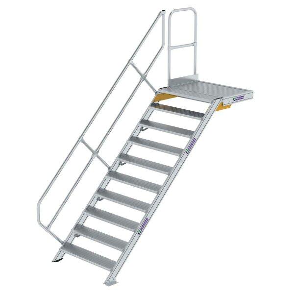 Treppe mit Plattform 45° Stufenbreite 1000 mm 10 Stufen Aluminium geriffelt