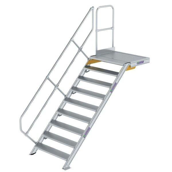 Treppe mit Plattform 45° Stufenbreite 1000 mm 9 Stufen Aluminium geriffelt