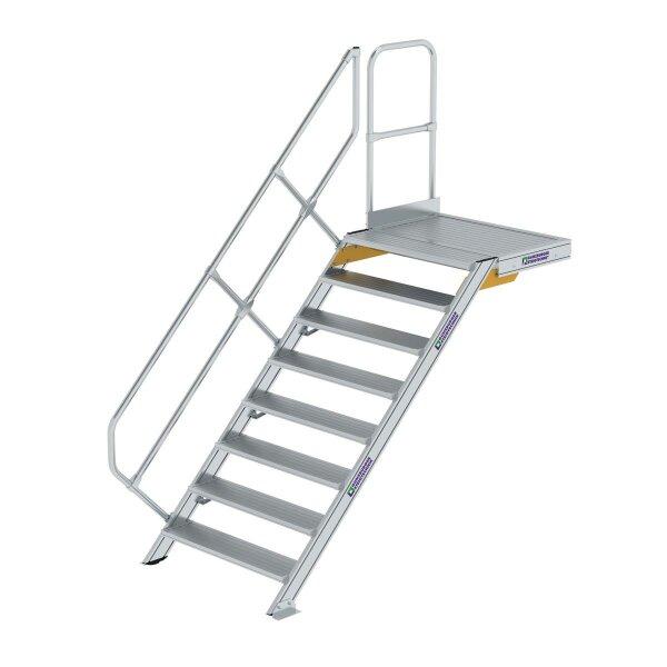 Treppe mit Plattform 45° Stufenbreite 1000 mm 8 Stufen Aluminium geriffelt